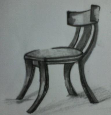 Mobiliario antiguo. Antigua Grecia. Silla Klismos